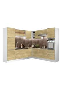Cozinha Completa De Canto Madesa Lux 546003 Com Armário E Balcão Branco/Carvalho Branco