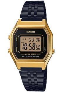 Relógio Casio Vintage Digital La680Wegb Feminino - Feminino-Dourado+Preto