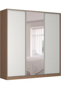 Guarda-Roupa Casal Com Espelho Tunas Iii 3 Pt 3 Gv Marrom E Branco