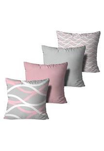 Kit 4 Capas Love Decor Para Almofadas Decorativas Abstrato Waves Multicolorido Rosa