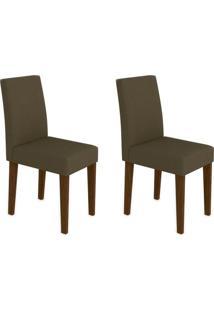 Conjunto Com 2 Cadeiras Giovana I Castanho E Marrom Escuro