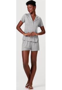 Pijama Feminino Abertura Frontal Com Botões