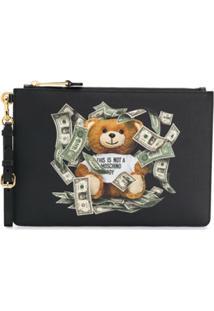 Moschino Dollar Teddy Bear Clutch - Preto