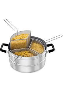 Espagueteira De Alumínio Com 3 Cestos, Sem Tampa, Alças Em Baquelite 36Cm(D) X20Cm(A) 18 L