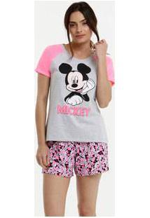 Pijama Feminino Neon Estampa Mickey Manga Curta Disney