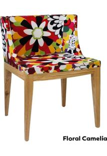 Cadeira Mademoiselle - Base Madeira - Assento Floral 2