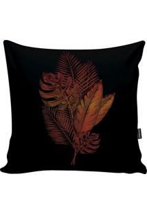 Capa De Almofada Blackred Foliage- Preta & Laranja Escurstm Home