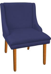 Cadeira Poltrona Decorativa Liz Suede Azul Marinho - D'Rossi