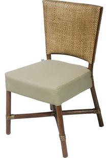 Cadeira Flint Assento Cor Fendi Com Base Madeira Apui - 44722 - Sun House