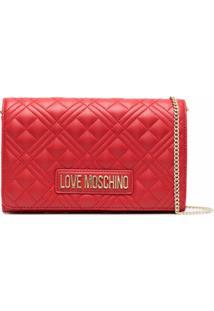 Love Moschino Clutch Matelassê Com Placa De Logo - Vermelho