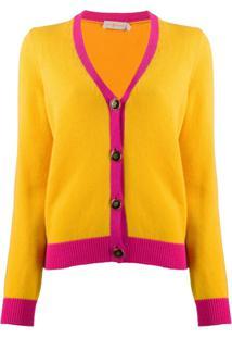 Tory Burch Cardigan De Cashmere Com Acabamento Contrastante - Amarelo