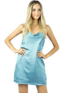 Vestido Liage Curto Liso Alça Cetim Decote Drapeado Azul Turquesa