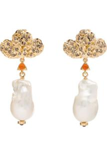 Chloé Gold-Plated Pearl Drop Earrings - Dourado
