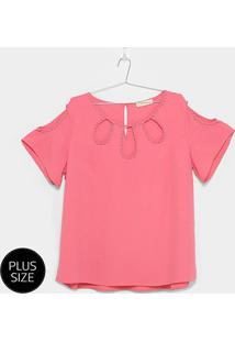 Blusa Heli Open Shoulder Apliques Plus Size Feminina - Feminino