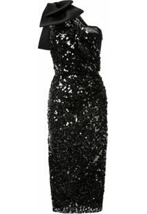 Dolce & Gabbana Vestido Com Paetês E Detalhe De Laço - Preto