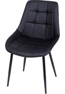 Cadeira Lounge Courino Preto Com Costura Quadriculada - 50021 Sun House
