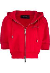 Dsquared2 Short-Sleeved Hooded Sweatshirt - Vermelho