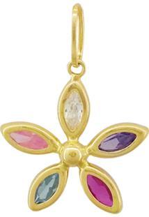 Pingente Ouro 18K Flor Com Pedras Vj7822