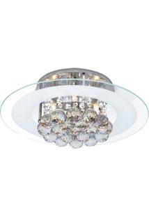 Plafon Cristal De Sobrepor Para 4 Lâmpadas Redondo Roma Startec Branco