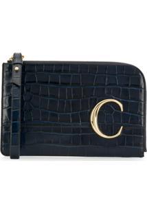 Chloé Clutch Com Textura - Azul