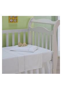 Jogo De Lençol Infantil Plumasul Classic Baby 3 Pçs Branco Ponto Palito