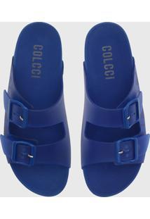 Rasteira Birken Colcci Fivelas Azul
