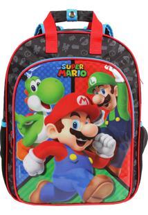 Mochila Escolar Super Mario Turma Com Placa