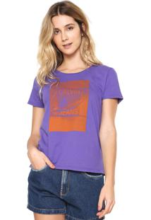 Camiseta Calvin Klein Jeans Estampada Roxa
