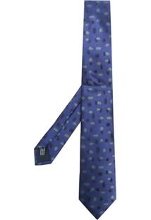 Lanvin Gravata Estampada De Seda - Azul