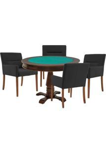 Mesa De Jogos Carteado Victoria Redonda Tampo Reversível Imbuia Com 4 Cadeiras Vicenza Preto Fosco - Gran Belo