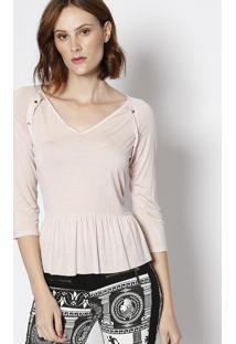 Blusa Com Botões & Franzidos - Rosa Claro - Lança Pelança Perfume