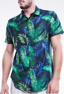 Camisa Social Manga Curta First Mormaii Masculina - Masculino-Verde+Azul
