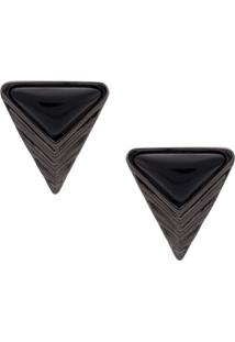 Camila Klein Par De Brincos Tapa Furo 'Triângulo' - Metálico