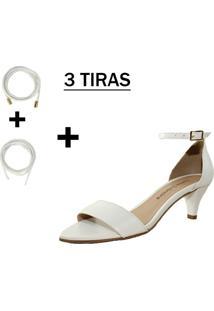 Sandália Troca Tira Salto Baixo Fino Luiza Sobreira Couro Branco Mod. 2019-2 - Tricae