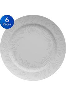 Conjunto Pratos Para Sobremesa 06 Peças Folk - Germer - Branco