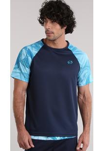 Camiseta Raglan Blueman Com Estampa Neon Azul Marinho