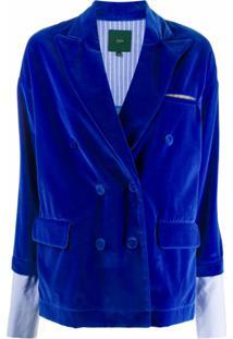 Jejia Jaqueta Com Abotoamento Duplo E Punhos Contrastantes - Azul
