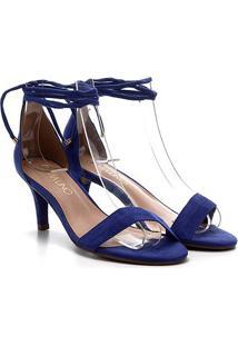 Sandália Via Uno Salto Fino Baixo Amarração Feminina - Feminino-Azul