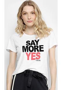 Camiseta Calvin Klein Say More Yes Feminina - Feminino-Branco