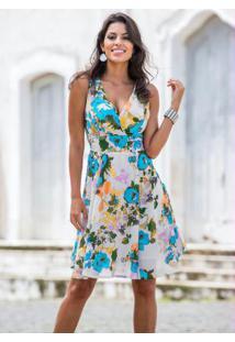 032e6288fb ... Vestido Floral Estampado Azul E Bege