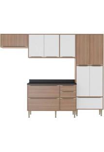 Cozinha Compacta Multimoveis Calabria 5458 Nogueira Branco Se