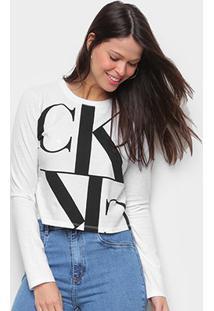 Blusa Calvin Klein Estampada Manga Longa Feminina - Feminino-Branco