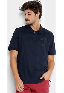 Camisa Polo Em Jacquard Tommy Hilfiger Bordado Masculina - Masculino-Marinho
