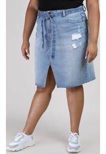 Saia Jeans Feminina Plus Size Com Fenda E Faixa Para Amarrar Azul Claro