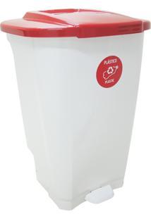 Lixeira Empresarial T-Force 100L Branco/Vermelho - Tramontina