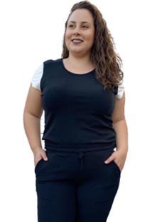 T-Shirt Canelado Corpusfit Plus Size- Preto E Off White
