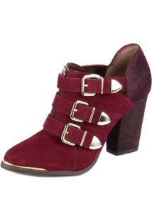 Sapato Summer Boots 3 Fivelas Burgundy - Cravo & Canela - Feminino