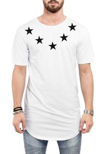 Camiseta Criativa Urbana Long Line Oversized Star Colar - Masculino