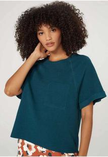 Blusa Feminina Em Algodão Texturizado Verde