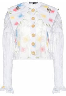 Chopova Lowena Blusa Translúcida Com Bordado Floral - Branco